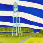 Bro Halff _Water Tower, Wing, North Dakota_ -Watercolor
